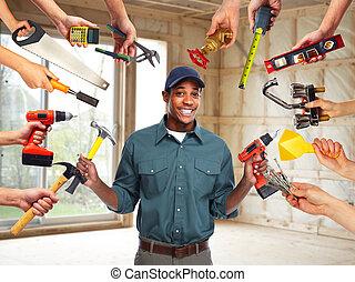 Arbetare, färsk, konstruktion, Hus