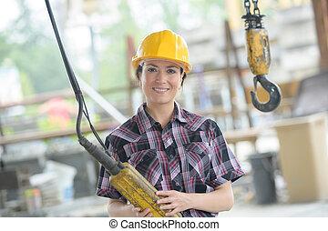 arbetare, fabrik, kvinnlig