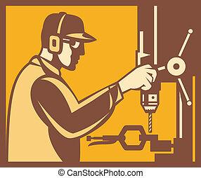 arbetare, fabrik, operatör, retro, drill tryck