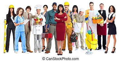 arbetare, folk, group.