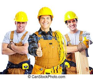 arbetare, folk., leverantörer