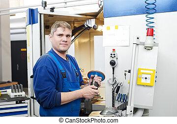 arbetare, fungerande, cnc, maskin, centrera