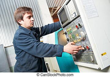 arbetare, fungerande, maskin, hos, verkstad