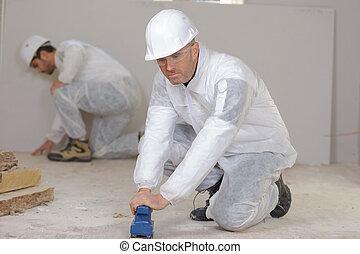 arbetare, golvmaterial, hos, konstruktion sajt