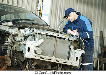 arbetare, hos, bilen reparerar, beslut