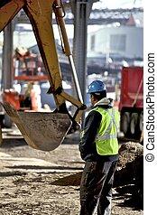 arbetare, hos, konstruktion sajt