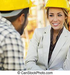 arbetare, konstruktion, arkitekt