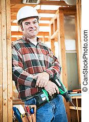 arbetare, konstruktion, -, carpentry