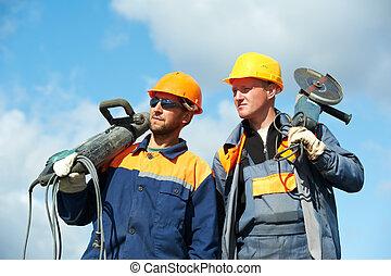 arbetare, konstruktion, redskapen, driva