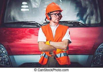Arbetare, konstruktion, säkerhet