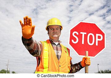arbetare, konstruktion, stopp