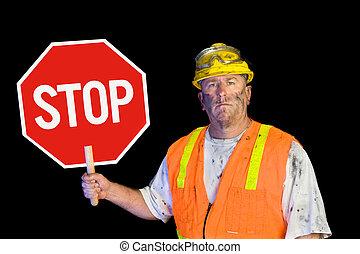 arbetare, konstruktion, stopp, holdingen, underteckna