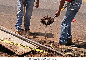 arbetare, konstruktion, vägkant