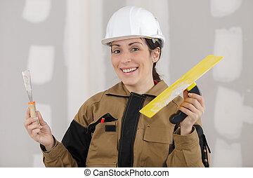arbetare, kvinnlig, lycklig