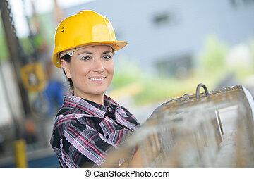 arbetare, kvinnlig, utomhus