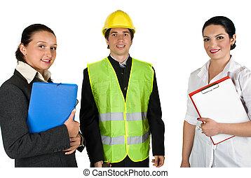arbetare, lycklig, folk, grupp