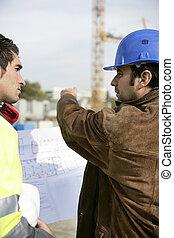 arbetare, på, a, konstruktion sajt