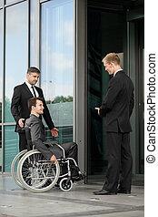 arbetare, på, a, rullstol