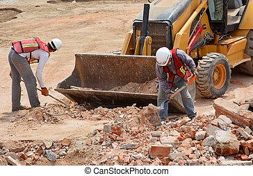 arbetare, skräp, plats, grävning