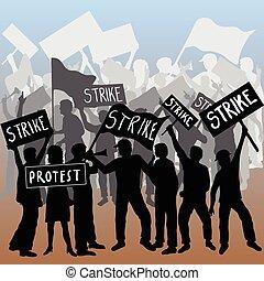 arbetare, strejk, och, protestera