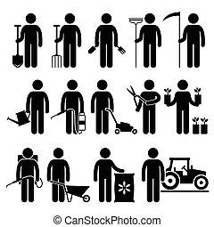 arbetare, trädgårdsarbete, trädgårdsmästare, redskapen, man