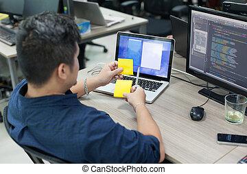 arbete, affär, tänkande, laptop, idé, gul, baksida, dator,...