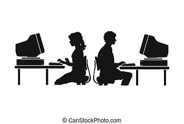 arbete, dator