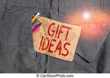 arbete, gåva, text, insida, gåva, trousers., någon, ge sig, ord, tanke, ideas., anteckna, ficka, utrustning, papper, begrepp, förslag, affärsman, skrift, brun, eller