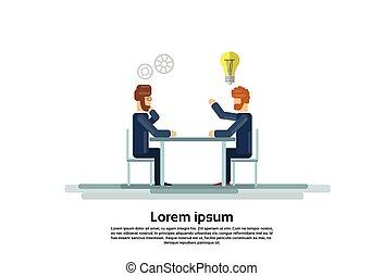 arbete, grupp, affärskontor, sittande, skrivbord, folk, businesspeople, skapande, lag