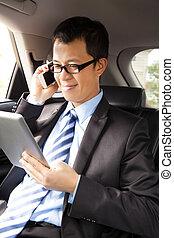 arbete, kompress, bil telefonera, affärsman, smart