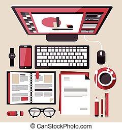 arbete, lägenhet, begrepp, design, plats