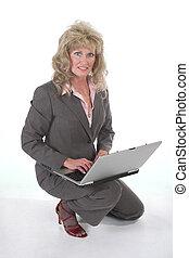 arbete, laptop, womanaffär