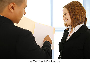 arbete, medarbetare, granska, kvinnor