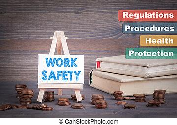 arbete, säkerhet, affär, concept., miniatyr, staffli, med,...