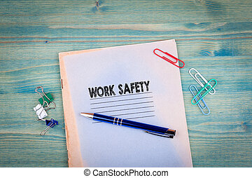 arbete, säkerhet, concept., anteckningsbok, på, a, lysande,...