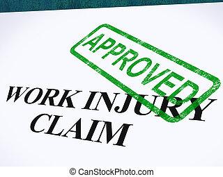 arbete, skada, fordra, godkänd, visar, medicinsk, utgiften,...