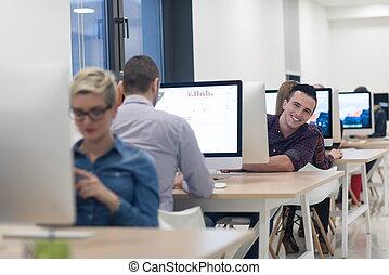 arbete, start, desktop dator, exploatör, affär, mjukvara
