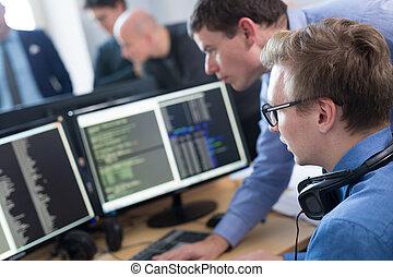 arbete, start, skrivbord, computer., exploatör, affär, mjukvara
