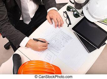 arbete, topp,  bui, arkitekt, perspektiv, bord, teckning, synhåll