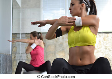 arbete ut, in, den, fitness, studio