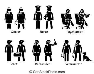 arbeten, jobb, sjukvård, women., ockupationerna
