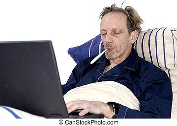 arbetsnarkoman, sjuka in blomsterbädd, med, laptop.