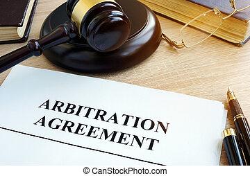 arbitrage, commercieel, overeenkomst, desk., geschil,...