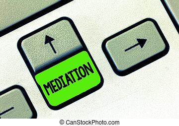 arbitrage, mediation., concept, woord, zakelijk, tekst,...