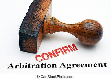 arbitrage, -, overeenkomst, bevestigen