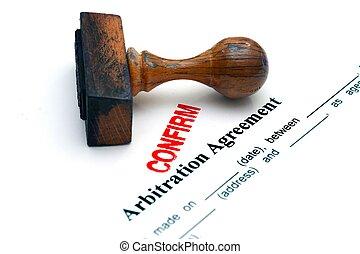 arbitrage, overeenkomst, bevestigen