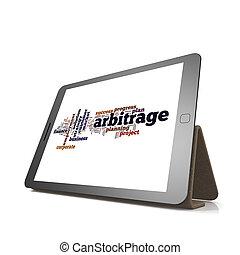arbitrage, woord, wolk, op, tablet