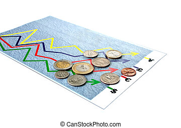 """arbitrary chart (diagram) """"exchange rate"""" on white"""