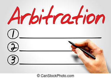 Arbitration blank list, business concept