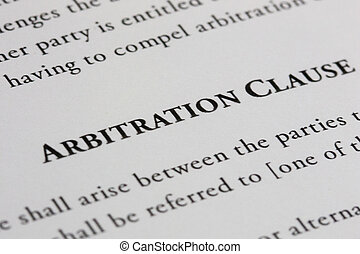 Arbitration Clause - Arbitration clause in a contract